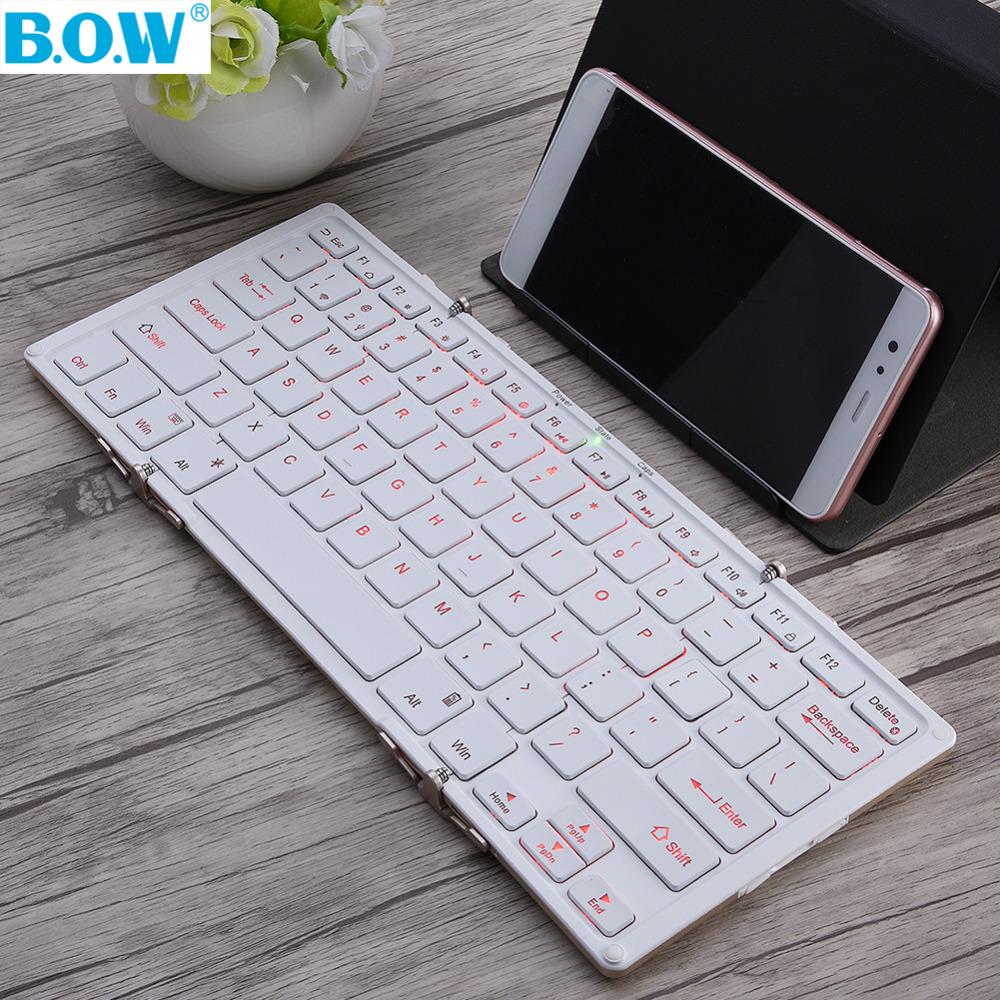 Original B.O.W BOW HB099B Mini Foldable Bluetooth Wireless Keyboard Rechargeable For iphone for ipad for Laptop Android Tablet(China)
