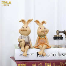 Lover Toy Rabbit Figures Figurines Resin Artware Lovely Couple Ornaments Doll For Home Decoration 2 pcs/set Free Shipping