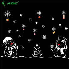 Festival Wall Sticker Christmas Snowman Showcase stickers Merry Christmas Happy New Year Create atmosphere Glass Window stickers(China)