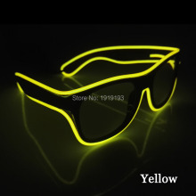 Hot Sales EL Glasses EL Wire Fashion Neon LED Strip Light Up Shutter Shaped Glow Glasses Rave Costume Party DJ Bright SunGlasses