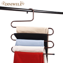 DINIWELL S Shape 5 Layer Multi-function Magic Trousers Rack Multilayer Metal Tie Hanger Stainless Steel Suit Pants Storage Rack(China)