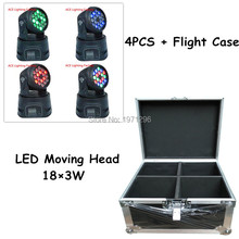 Flight Case with 4 pieces LED Mini Moving Head Light 18x3w RGB Wash Light For Event,Disco Party Nightclub Fast & Free Shippping