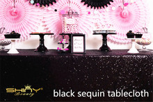 48x72inch Rectangle Sequin Tablecloth, Black Table Linens For Wedding/Christmas/Party/Birthday Decoration-125x180cm-a(China)