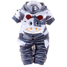 New Baby Boys Girls Clothing Sets Children Spring And Autumn Cartoon Rabbit Cotton Hooded Long Sleeve Coat Pants Suit Set
