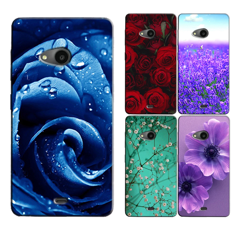 for Microsoft Nokia Lumia 535 Original Phone Case Printed Back Cover Shell Bag Painting Skin Flower Coque Capa(China (Mainland))