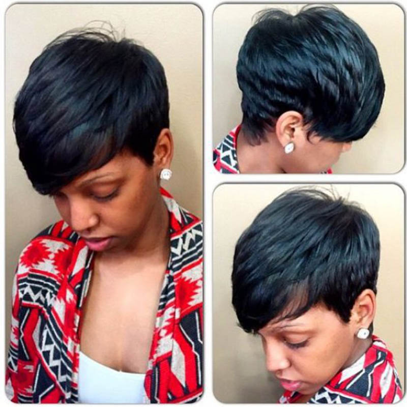 Spiffy Short Pixie Cut Capless Straight Layered Black Synthetic Wig For Women<br><br>Aliexpress