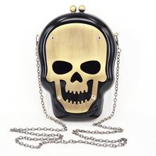 Halloween Skull Clutch Bag With Chain Lovely Acrylic Ghost Head Black White Evening Bag Nightclub banquet bag Handbags 814