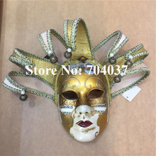 (36 pieces/lot) New gold color Handmade full-face pulp elegant traditional Venetian carnival Jester mask
