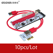 10Pcs/Lot 3 in 1 4pin molex pci-e riser card 6pin riser USB 3.0 Data Cable SATA/ 4Pin/6Pin IDE Power slot For BTC Miner