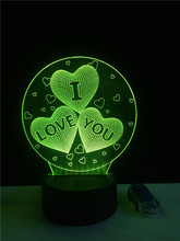 I love you 3D Balloons Heart Shape LED Night Light Romantic Atmosphere Lamp Lighting HOT Wedding Decoration Lovers Couple Gifts(China)