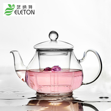ELETON 800ml Glass tea pot cover teapot with filter resistance transparent tropical tea flowers Kung Fu Pu'er Tieguanyin