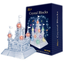 3D Crystal Puzzle Castle With Music Light Jigsaw building educational toys for children kids games brinquedos educativos puzzles