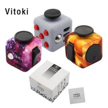 Original Upgraded Fidget Cube Decompression Finger Toys Children Adult Favorite Christmas Birthday Gifts Purple Night Wholesale
