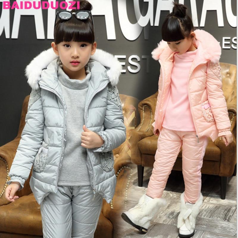 Super Warm Children Winter Cotton Suits Boys Girl vest coat +sweater+pants 3pcs Clothing Set Thermal Kids Snow Wear Top Quality<br>