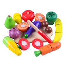 14ps Wooden Cutting Toy Colorful Pretend Play Fruit Vegetable Baby Educational Simulation Food Toys Children's Kitchen Play Sets(China)