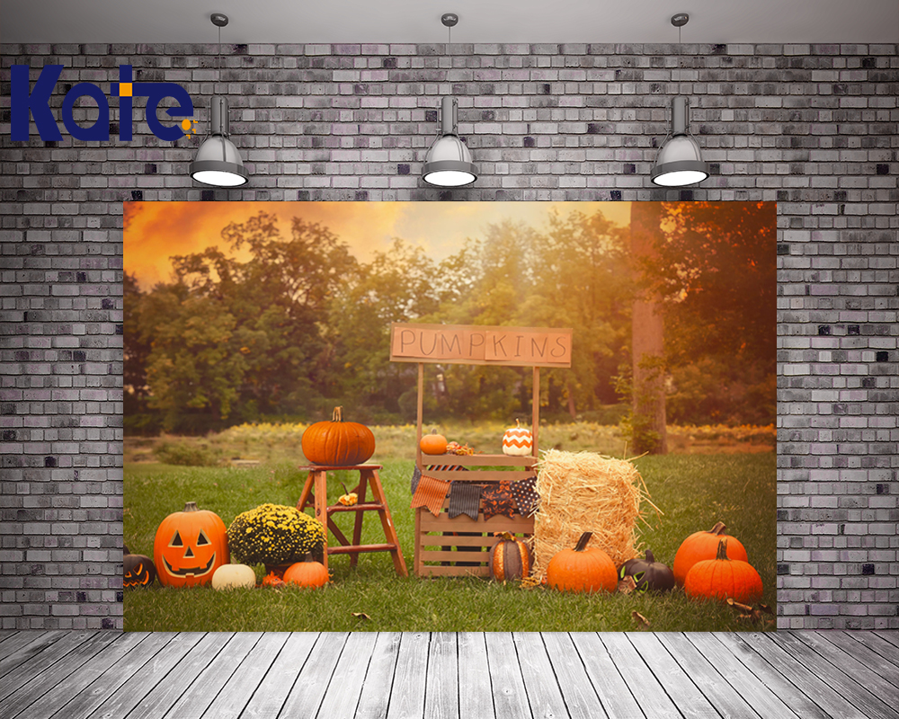 Kate Holloween Photography Backdrops  Children Photo Background Photography Backdrop Pumpkin Trees Baby Photography Backdrops<br>