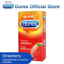 Durex Strawberry Condoms Ultra Thin and Extra Lubricated Condom Kondom Safe Sex Toys Intimate Products Erotic Product for Adults(China)