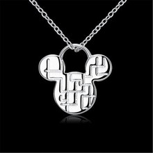 Wholesale Fashion Jewelry 925 Sterling Silver Mickey Mouse Women Pendant Necklace Wedding Party Gift