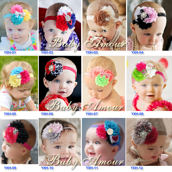28 colors Kids headband diamond/rhinestone/pearl/sequin bow shabby flower Hair band hair accessories Christmas A023(China (Mainland))