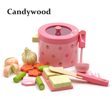 Baby Toys Super Cute Strawberry Simulation Vegetable Hot Pot Wooden Toys Kitchen Prentend Play Food Set Gift(China)