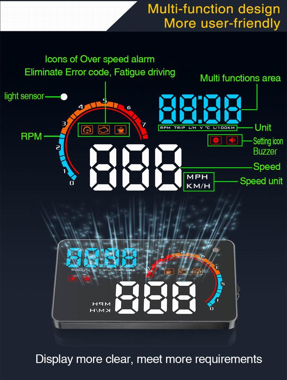HTB1tW.obYZnBKNjSZFGq6zt3FXa5 - Car Head Up Display Projector Shows Speed Warning Fuel Consumption