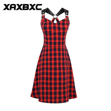 XAXBXC 2017 Autumn Girl Vestido Patchwork Zebra Stripe Button 1950s Vintage Swing Women Shirt Dress Evening Party Plus Size(China)