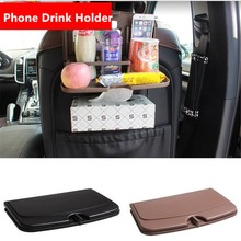 Dual Car Phone Holder Foldable Back Seat Cup Holder Car Organizer Storage Holders Racks Travel Dining Tray Table Bottle Stand