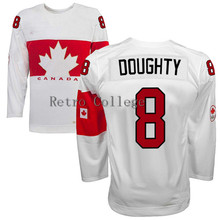Embroidery stitching retro throwback DREW DOUGHTY #8 Team Canada Hockey jersey Customize any size player name number(China)
