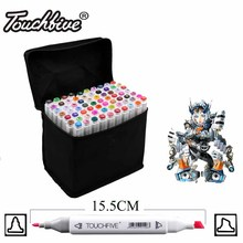 Touchfive Double Headed sketch art Supplies mark pen Alcohol Marker pen soluble pen cartoon graffiti markers pens for designers(China)