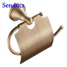 Free shipping Senducs antique bronze toilet paper holder for hot sale solid brass bathroom sanitary paper holder(China)