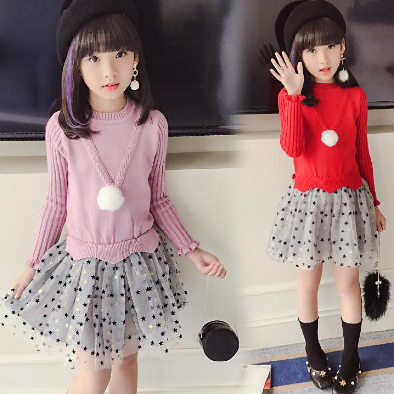 Kids Dresses For Girls Sweaters 2017 New Autumn Cotton Sweater Dress For Girls Clothing School Kids Clothes 10 11 12 13 14 Years<br>