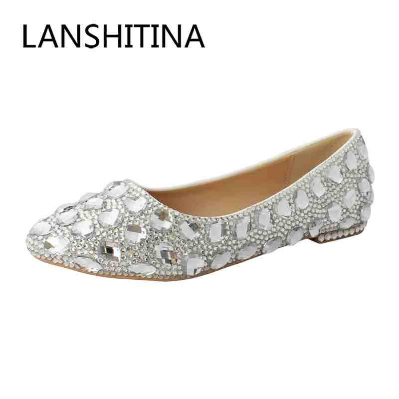 Hot sales women shoes fashion Bridal Rhinestone Flat Shoes Pointed Toe Handmade Spring/Autumn Wedding Shoes<br>