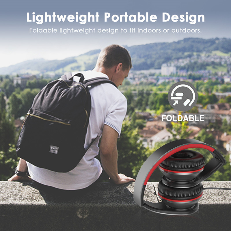 Wired Headphone 3.5mm Stereo Headset Foldable with Microphone Earphone big auriculares For iPhone Phone Computer,Crabot I65
