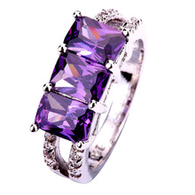 AAA CZ  Factory Direct Jewelry Purple CZ  Plated Silver Fashion Ring Size 6 Free Shipping Wholesale