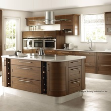 solid wood curved shape kitchen cabinet(LH-SW089)(China)
