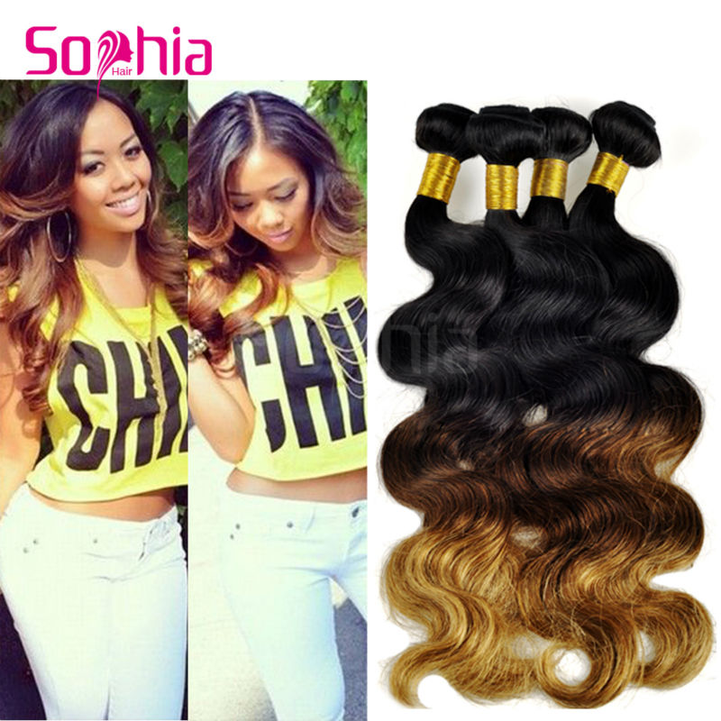 2017 New Style Rosa Hair Products Virgin Brazilian Body Wave Ombre Hair Extensions 3 Tone Ombre Brazilian Hair Weave 4 Bundles<br><br>Aliexpress