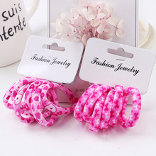 Hot Sale 6PCS/Lot Girls Cute Color Hair Band Pink Print Dot Lovely Elastic Headband Good Quality Hair Holder Accessories Tie Gum(China)
