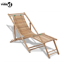 vidaXL 2017 Antique Outdoor Foldable Bamboo Sun Lounger with Footrest Adjust Transat Outdoor Furniture Durable Folding Lounger