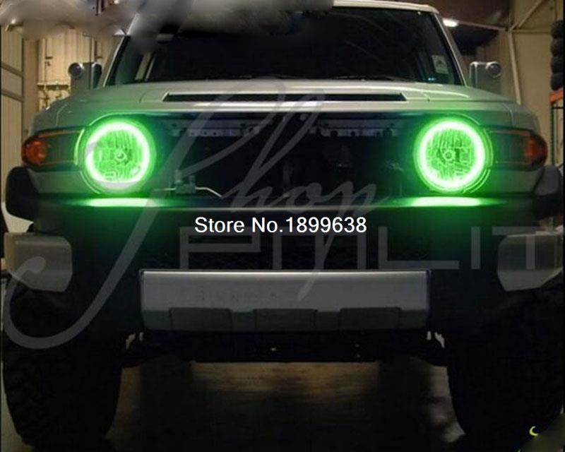 for 2007-2014 Toyota FJ-Cruiser LED RGB angel eyes  Halo Rings Headlights Bulbs FJ Cruiser 7 headlight<br>