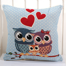 New Cartoon Removable And Washable Cotton Linen Square 14 Style Owl Cushion Pillowcase for Car Home Seat Coussin Decoration Gift(China)