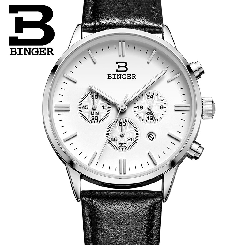 New BINGER watches men luxury brand Quartz watch waterproof genuine leather strap clock gold Chronograph Wristwatches BG9201-5<br>