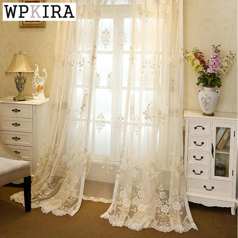 living room elegant Curtains Tulle Window screening Curtain Bedroom Curtains embroidered Sheer Voile Curtain 364&20
