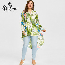 Buy AZULINA Women Blouses Shirts Plus Size 5XL Flower Palm Print Longline Blouse V-Neck Long Sleeve Ladies Tops Blusas Big Size Top for $13.99 in AliExpress store