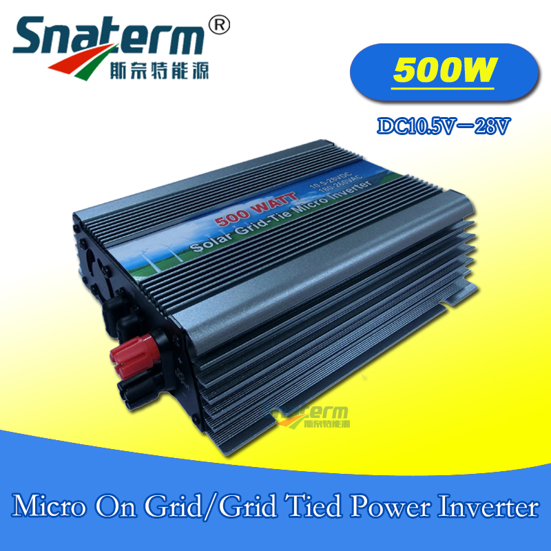 500Watts MPPT Micro Grid tie Power Inverter DC 10.5-28V AC 220V AC110V on grid pure sine wave inverter suit for 18V solar panels(China)