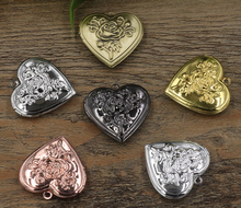 29mm 10pcs 6Color Rose Heart Photo Frame Locket Box,Copper Bronze/Gold/Silver/Black Tone Pendant,DIY Vintage Jewelry