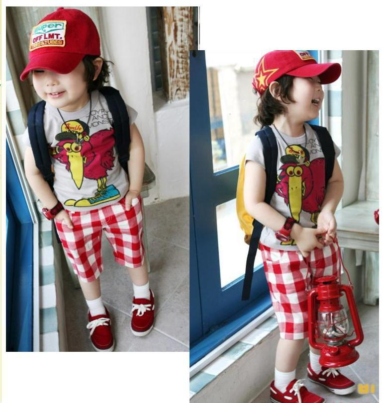 Special price summer boys suit sets male child sports sets turkey printed short-sleeve shirt +red color plaid breeches<br><br>Aliexpress