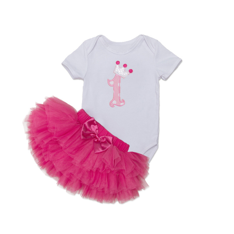 Tutu Baby Birthday Set Summer Short Sleeve Roupas Infantis Bebes 1st Birthday Outfit+Tutu Pettiskirt Dress Party Clothing Sets 18