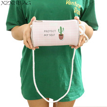 XZXBBAG Girls Cute Cactus Mini Zipper Shoulder Bags Female Bucket Crossbody Packet Girl Bears Barrel Bag Large Capacity Pouch(China)