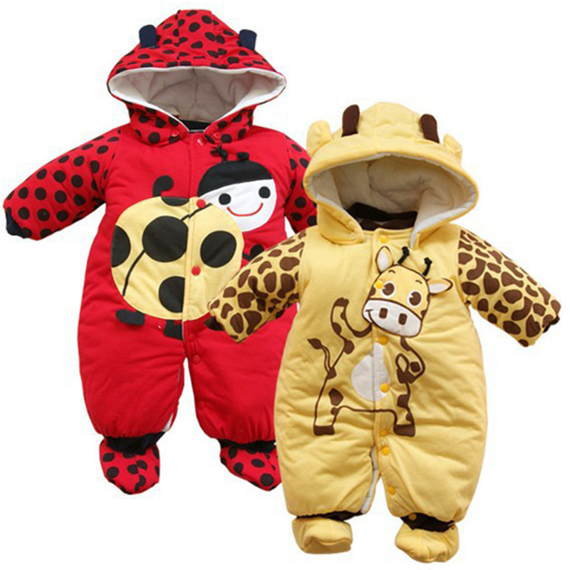 newborn baby clothes winter thicken warm Costume cotton Animals print Hooded one piece romper for 0-9m baby boy girl outwear