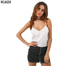 NCLAGEN 2017 New Women Summer Style Sexy V Neck Tank Sleevleess Backless Bandage Camis Solid Casual Lace Up Vest Siz S-L(China)